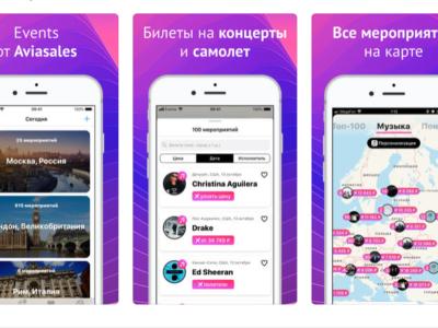 Приложение Events для планирования поездок